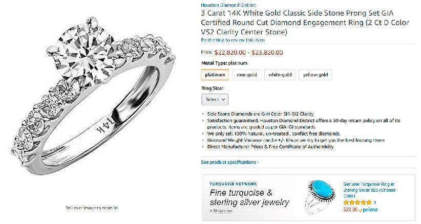 Кольцо с бриллиантом на Amazon