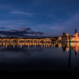 Charles Bridge in Prague reflected by Paul Telford - Buildings & Architecture Bridges & Suspended Structures ( reflections, nightscape, prague, charlesbridge, river, skyline,  )