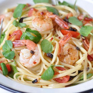 Lemon and Chili Prawns Linguine