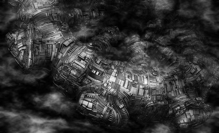 UFO II by Jacques Larose - Illustration Sci Fi & Fantasy ( fantasy, spaceship, fog, illustration, ufo,  )