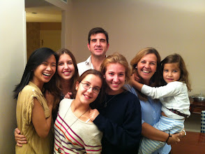 Photo: My Spanish family after a goodbye dinner at their house (homemade tortilla, salmorejo, ham, cheese, chorizo...) I taught all 4 sisters and their daddy. They have been so sweet and kind to David and me. <3