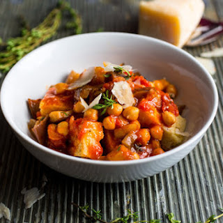Millet Polenta With Tomato Sauce, Eggplant and Chickpeas