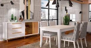 Diseño de comedor con madera y colores neutros.