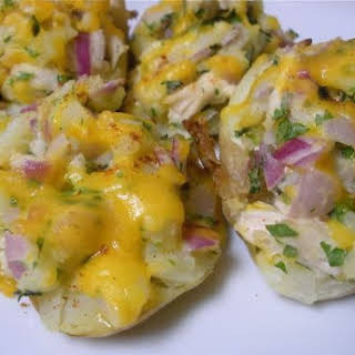 Chicken and Cheddar Stuffed Potatoes.