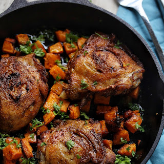 Crispy Oven Baked Chicken With Sweet Potatoes.