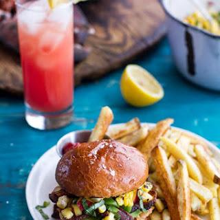 Lobster Burgers w/Browned Butter Lemon Aioli + Basil Corn Salsa, Bacon 'n' Avocado..