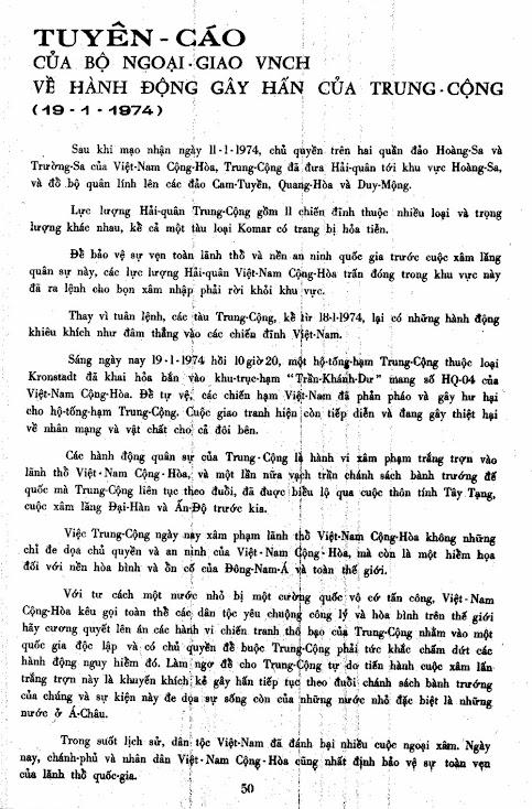 Tuyên Cáo của Bộ Ngoại Giao Việt Nam Cộng Hòa về hành động gây hấn của Trung Cộng (19.1.1974)