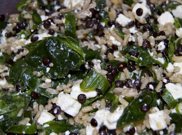 Brown Rice, Beluga Lentils, Spinach, And Feta Salad Recipe