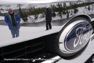 Photo: Reflections of Jim and Larry in the chrome of our fancy Ford snow coach.