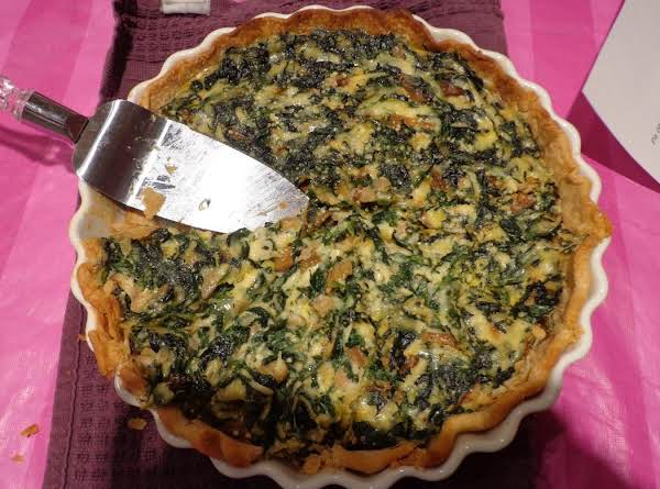 Spinach, Mushroom, Onion And Cheese Quiche