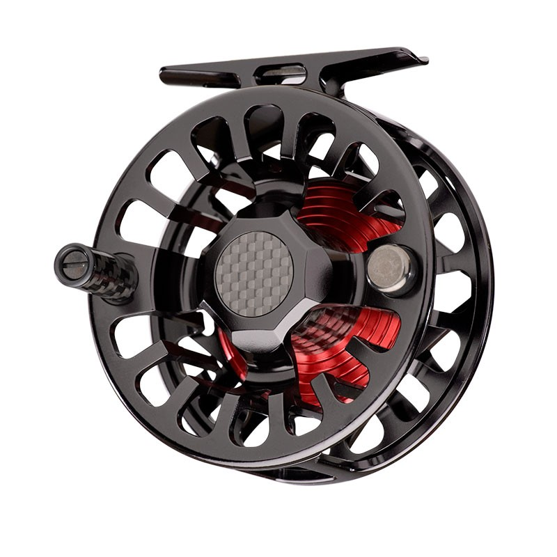 A red and black fly reel.