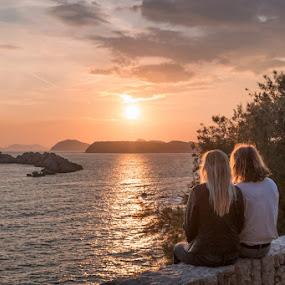 by Miho Kulušić - People Couples ( love, sunset, islands, lovely, couple, seascape, landscape, golden hour,  )