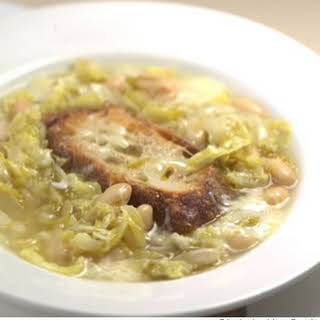 Italian Peasant Soup With Cabbage, Beans & Cheese.
