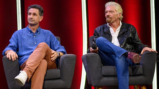 Kim Reid, CEO and founder of Takealot.com, and Sir Richard Branson.