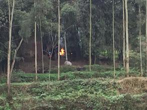 Photo: 焚火かと思ったらいきなり爆竹が!