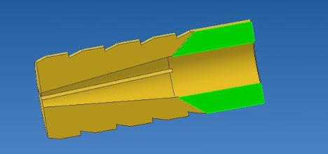 Photo: coupes d'une cheville  vue sur le cône interne