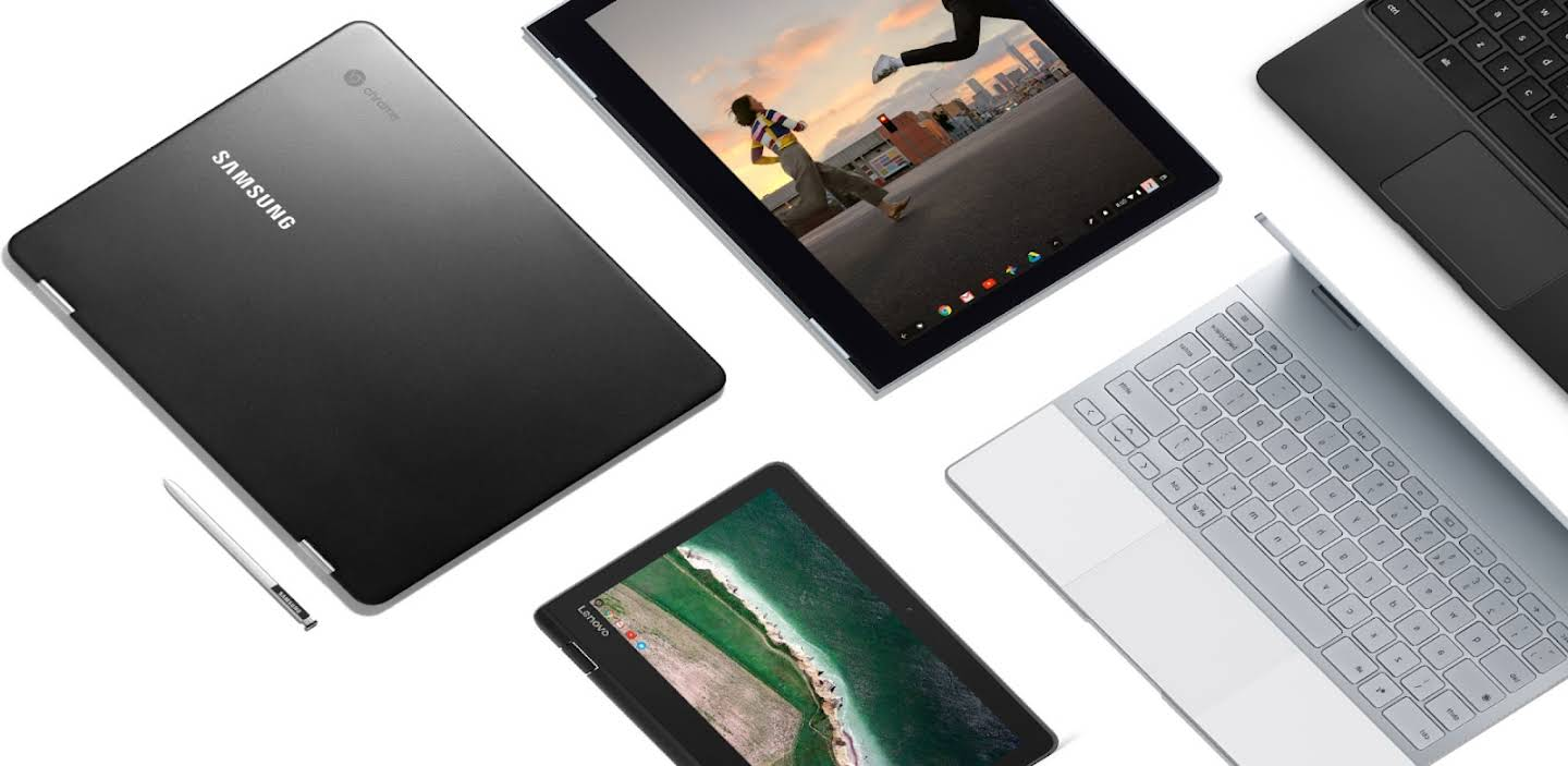 An artistic layout of Chromebook laptops and tablets that displays the various shapes, sizes and price points available.