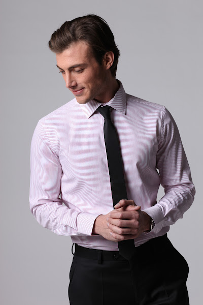 Photo: Fabric code R81920-34, thin stripes cutaway medium collar, front placket, white buttons, 2 button cuffs. solid black skinny tie.