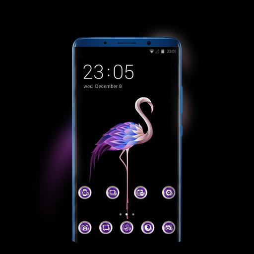 Theme for abstract flamingo dark wallpaper icon