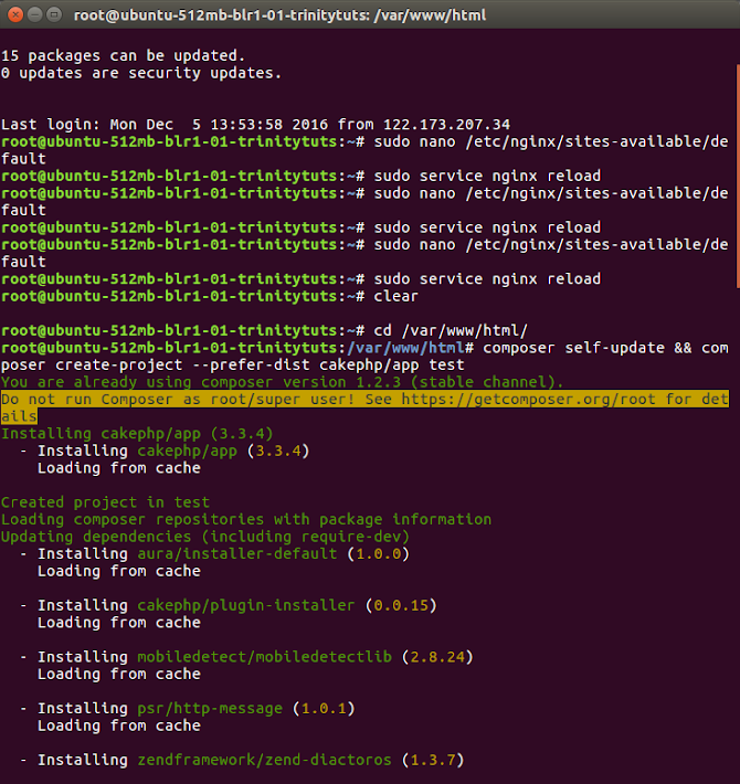 Setup CakePHP 3 on Nginx server