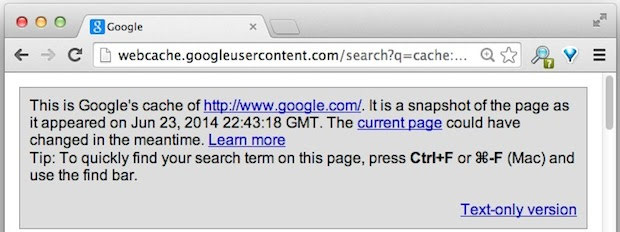 Google Cached Page