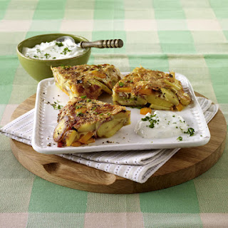 Ham and Vegetable Frittata with Herbed Cheese.