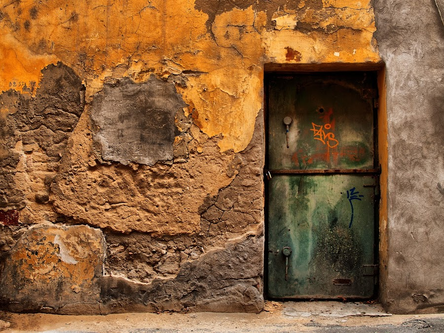by Zsolt Zsigmond - Buildings & Architecture Architectural Detail ( old, hdr, ruined, texture, green, door, yellow, wall,  )