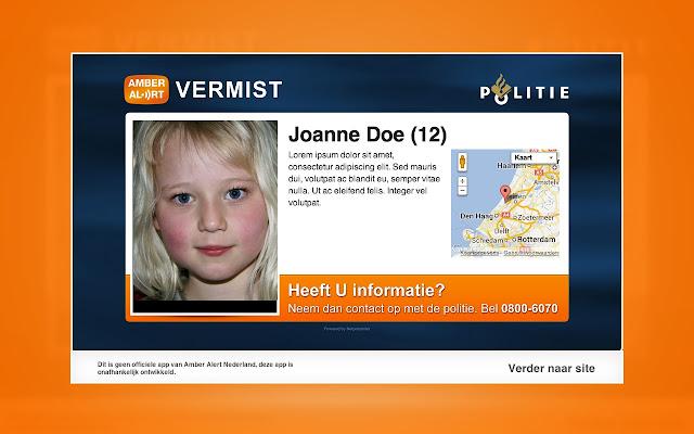 Pop-up voor Amber Alert