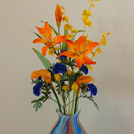by Dee Haun - Artistic Objects Still Life ( artistic objects, artificial flowers, glass, still life, vase, 190323f7809ce1, colorful )