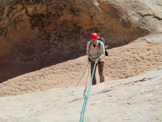Chris on the first short rappel