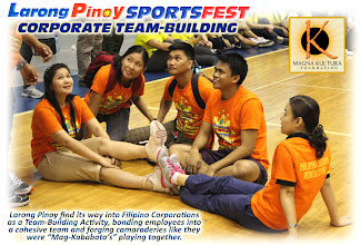 "Photo: Magna Kultura Foundation is the National Organizer of The Filipino Games in the Philippines.  Organizing Larong Pinoy Company Sports Fest for Private corporations is among the cultural entrepreneurship approaches of Magna Kultura to revive the games among Filipino adults who use to play the games; at the same time, an advocacy to revive the Games of Our Heritage (""Laro ng Lahi"") back in the mainstream of Philippine society. Letting adults play the games will re-kindle the fun of Larong Pinoy, and open doors to teaching their children to also play the games; thus, making them fellow-advocates in the revival of the games.  For inquiries, Contact DICKIE AGUADO, Executive Director - Magna Kultura Foundation. Email: kulturapilipinas@gmail.com. Tel. No. (632) 514-5868"