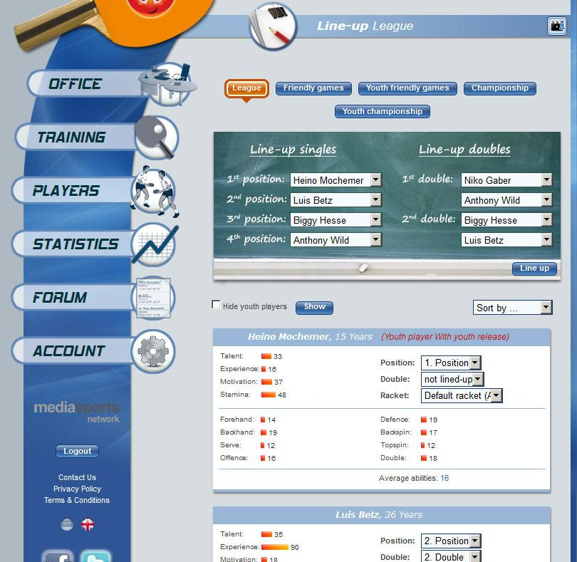 Table Tennis Manager – Screenshot