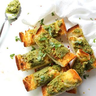 Vegan Pesto Garlic Bread.
