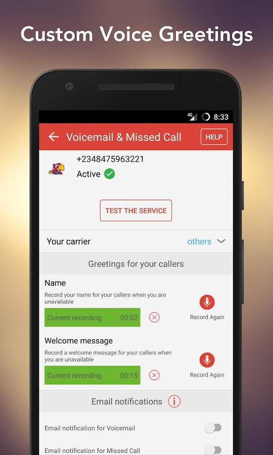Voicemail & Missed Call Alerts- screenshot
