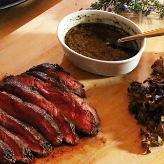 Pan-Seared Blade Steak with Roasted Hen of the Woods Mushrooms.