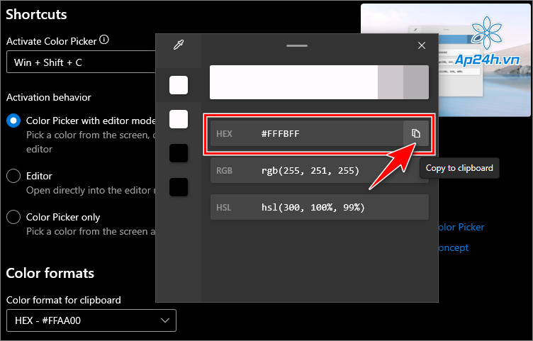 Sao chép mã màu bằng công cụ Color Picker