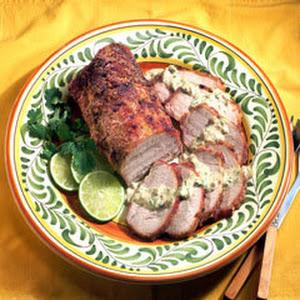 Roast Pork Loin With Poblano Chile Sauce