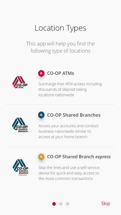 CO-OP ATM / Shared Branch Locator- screenshot