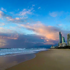 Gold Coast Sunrise by Taz Graham - Novices Only Landscapes ( clouds, buildings, ocean, sunrise, beach )
