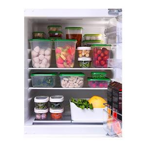 Set 17 caserole alimente cu capac, plastic, transparente