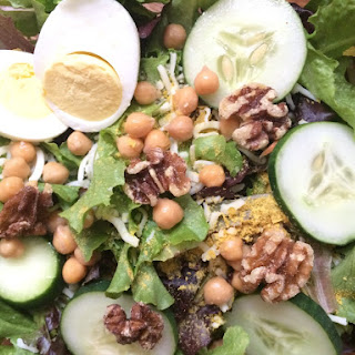 Vegetarian High Protein, Low Carb Chickpea and Walnut Salad.