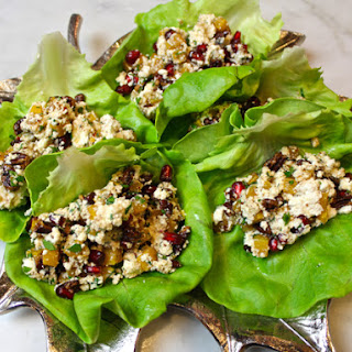 Roasted Butternut, Pecan, Pomegranate & Ricotta Lettuce Wraps