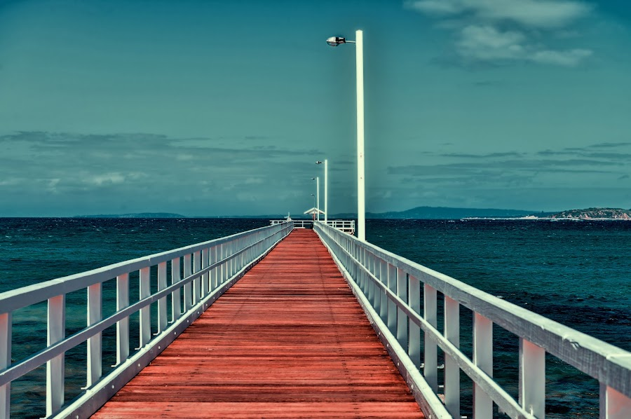 Long Jetty  by John Torcasio - Landscapes Beaches ( boats, pier, beach, jetty, surf )
