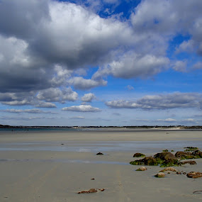 Shells hunting by Anne-Karine Lapointe - Landscapes Beaches ( cloudy sky, beach, brittany )