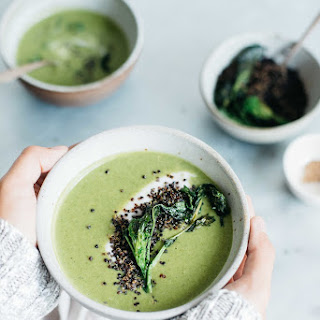 Creamy Broccoli Rabe Soup W/ Crispy Quinoa + Yogurt (V + Gf) Recipe