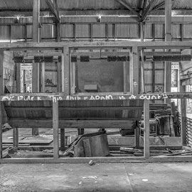 Left Behind by Ella Kingston - Black & White Buildings & Architecture ( archecture, workshop, black and white, abandoned, warehouse, building, machinery,  )