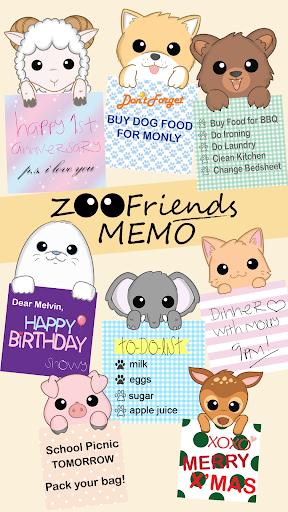 Zoo Friends Memo メモ帳 ウィジェット