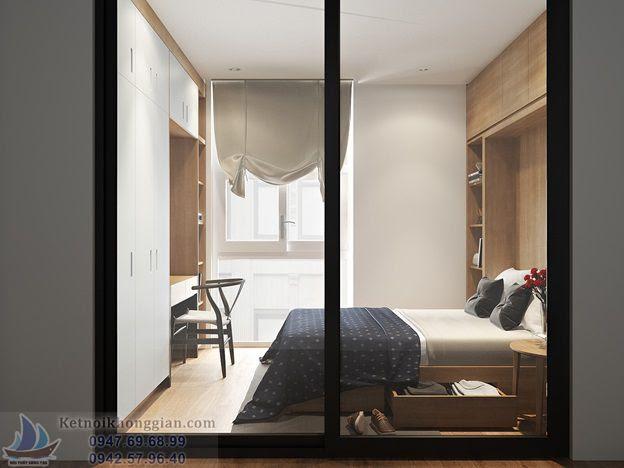 thiết kế phòng ngủ nhỏ đánh lừa thì giác