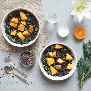 Wild rice, Cinnamon Roasted Sweet Potato and Kale Salad
