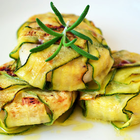 Zucchini Wrapped Fish With Homemade Rosemary Oil by Daniela Elena - Food & Drink Meats & Cheeses ( olive oil, zucchini, fish, grilled vegetables, healthy food, rosemary, food, hungry, nomnom, yummy, foodie, eat, cook, family, cooking, groceries, breakfast, lunch, dinner, dessert, tasty )